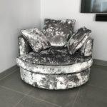 Grey swivel love seat