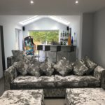 Crushed velvet sofa & pouf