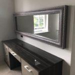 Large grey vanity mirror